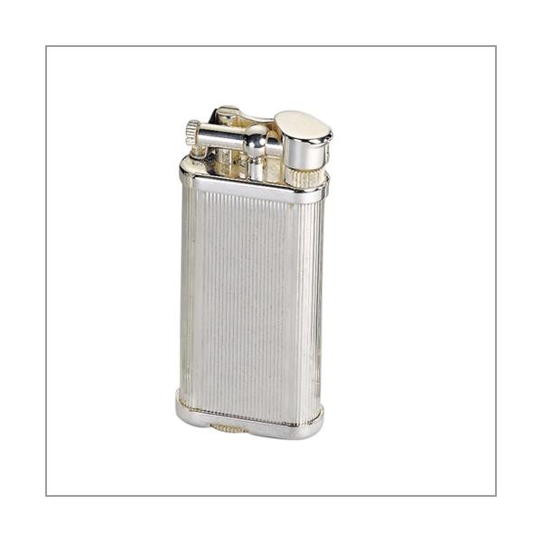 Dunhill Unique Pfeifenfeuerzeug versilbert mit Längsstreifen