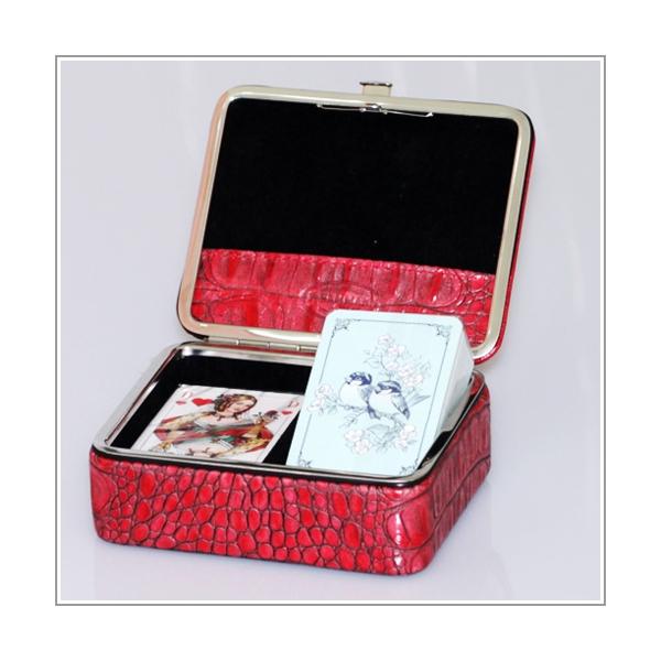 Kartenbox Rindleder in Krokoprägung rot