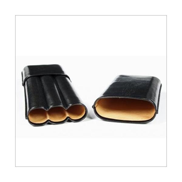 3er Zigarrenetui glatt schwarz für Churchill