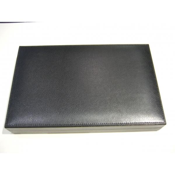 Backgammon schwarzes Leder mittlere Größe