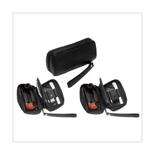 Dunhill Pfeifentasche für zwei Pfeifen - Serie schwarzes Leder