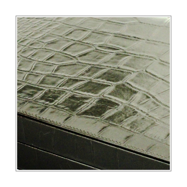 Backgammon schwarz Krokoprägung