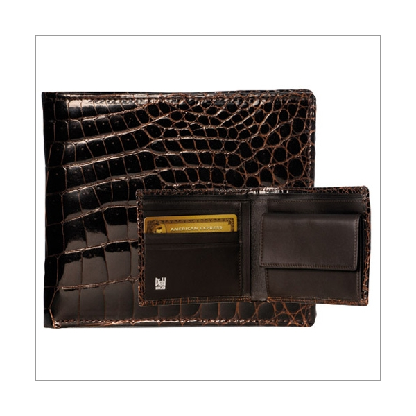 Diehl Lederwaren Geldbörse echt Kroko dunkelbraun mit Zertifikat
