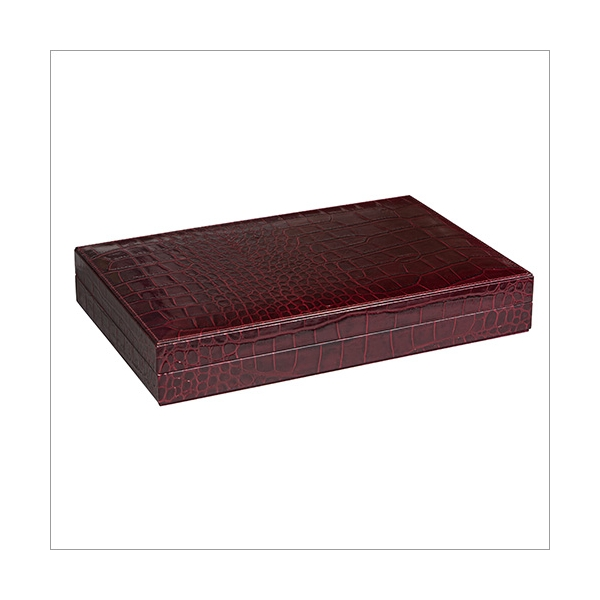 Backgammon bordeaux Krokoprägung