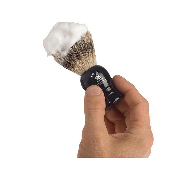 Rasierpinsel Silberspitz Dachszupf Edelharz schwarz