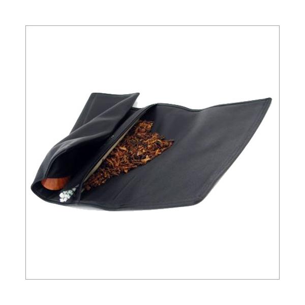 Tabakrollbeutel schwarz mit Pfeifenfach